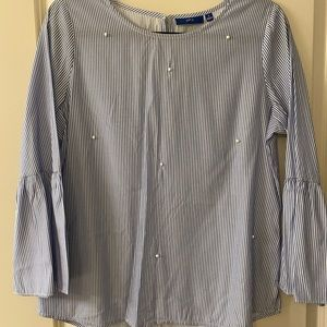 Apt. 9 Striped Pearl Long Sleeve Blouse: Size S